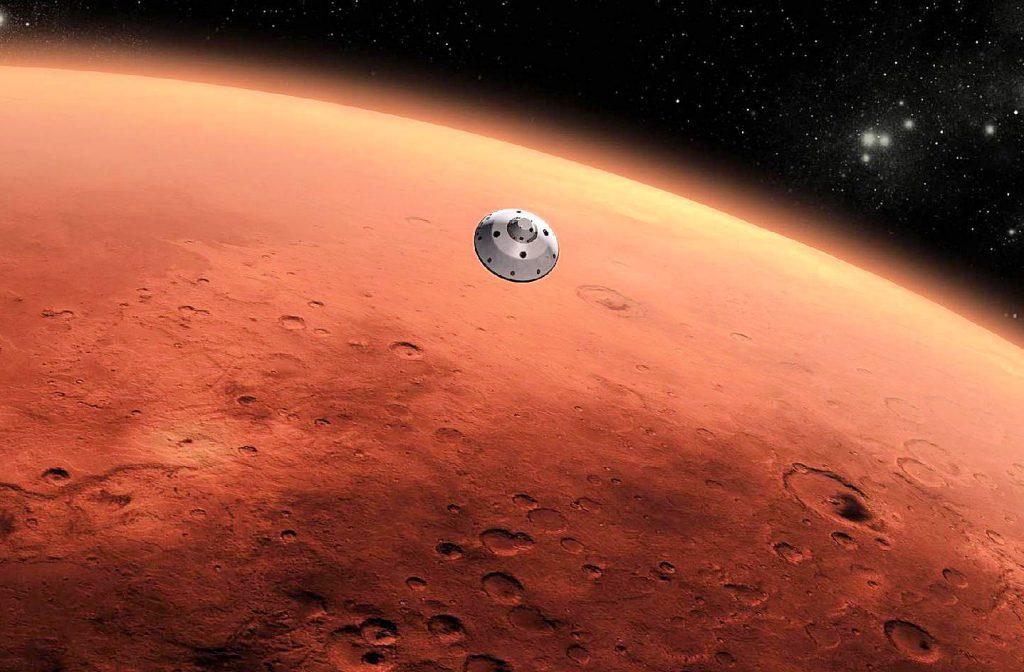 alien ship in front of mars